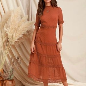 Lulu's Dreaming of you Rust Orange midi dress